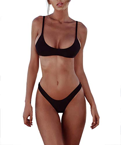 heekpek Damen Bikini Push Up Set Neckholder Fitness Oberteil Tops und Bottoms Rückenfrei Badebekleidung Badeanzug, Schwarz, S
