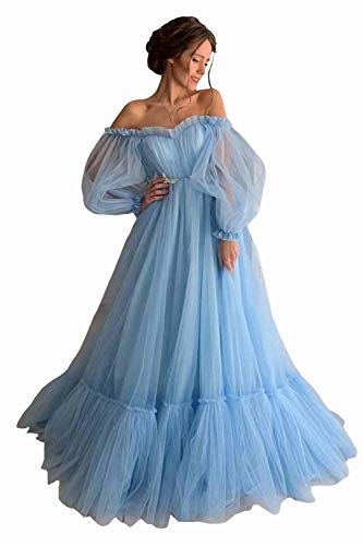 Asulla Long Puffy Sleeve Tulle Prom Dress Off Shoulder Evening Gowns Wedding Party Dresses for Women 2020 Blue-2