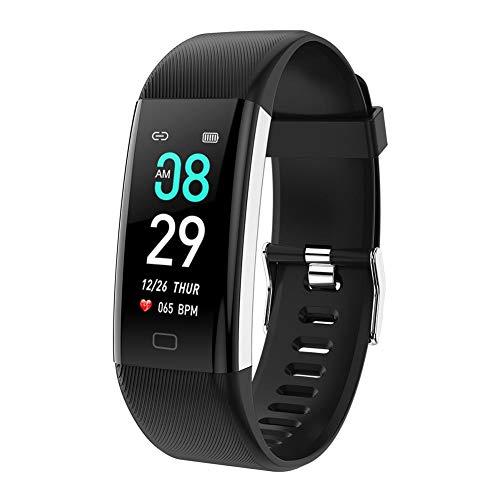 gouxia74534 Intelligente Armbanduhr, für Männer, Smartwatch, für Damen, Smartwatch, BT Armband, Farbe mit Sportuhr, Herzfrequenz, Fahrrad-Armband Schwarz