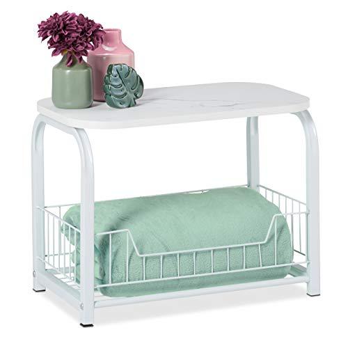 Relaxdays Beistelltisch mit Aufbewahrung, Tischplatte in Marmor-Optik, Metallgestell, HxBxT: 38 x 50 x 30 cm, weiß