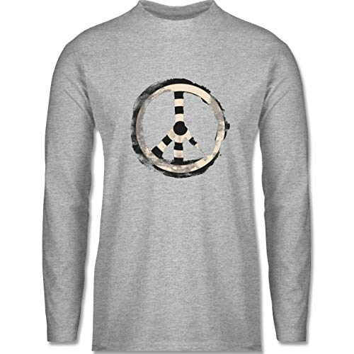 Shirtracer Statement - Zielscheibe Frieden - Target Peace - L - Grau meliert - Symbol - BCTU005 - Herren Langarmshirt