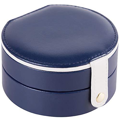 Redonda Joyeros,Pequeña Viaje Joyero,Portátil Funda De Joyería,para Mujer Collares Anillos Pendientes Pulsera Caja Organizadora-Azul Oscuro 11 * 5.8cm