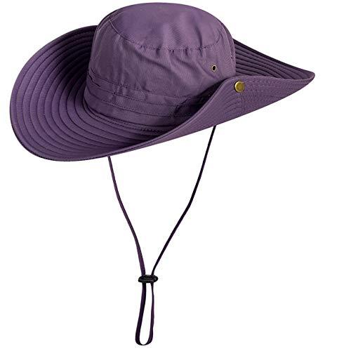 Chapeau de Soleil Protection UV Casquette d'été à Large Bord Casquette de Protection Solaire Unisexe pour Les Voyages en Plein air Camping Pêche Randonnée, Violet