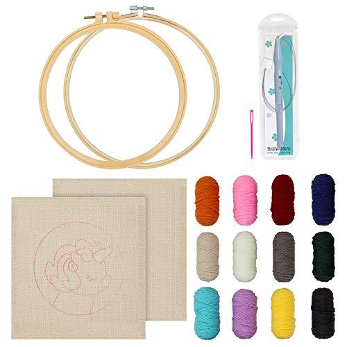 WeeDee Aguja Mágica Punch Needle Bordado Kit para Principiantes Que Inician Al Bricolaje - Aguja Mágica Ajustable, Antideslizante Bastidor Aros para Bordar, Hilo de 12 Colores, Patrón de Unicornio