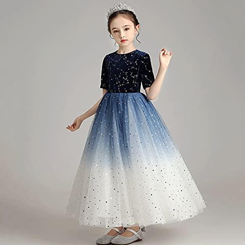 XIAOQIAO Vestidos para niños, Vestidos de Princesa de cumpleaños para niñas, Vestidos hinchados, Vestidos de Novia para niña de Flores, Disfraces (tamaño : 120)