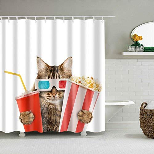 LCZMQRCLMZRQBadkamer Gordijn Kerst Cartoon Cat Print Douchegordijnen voor Badkamer Douchegordijn Wasbaar Bad Decor Polyester Stof Badkamer Gordijn, C0330,150X180cm