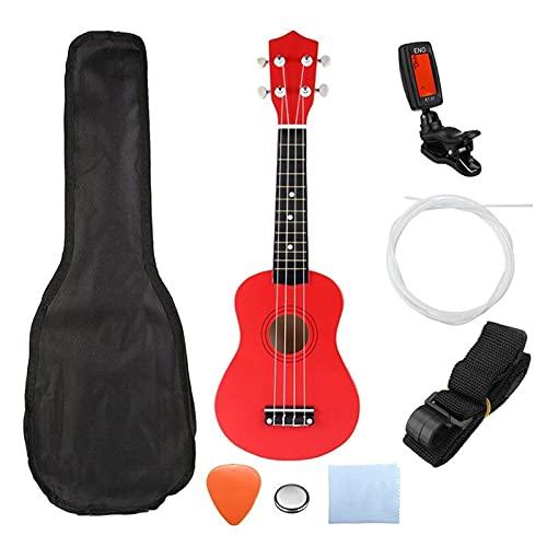 LBWNB Ukelele soprano verde de 21 pulgadas, 4 cuerdas, guitarra hawaiana, instrumentos musicales, ukelele, guitarra soprano con sintonizador de bolsa de conciertos (color rojo)