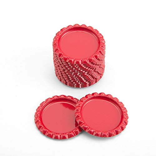 IGOGO 100 Pcs Red Flat Bottle Caps Hair Bows DIY Pendants Craft Scrapbooks