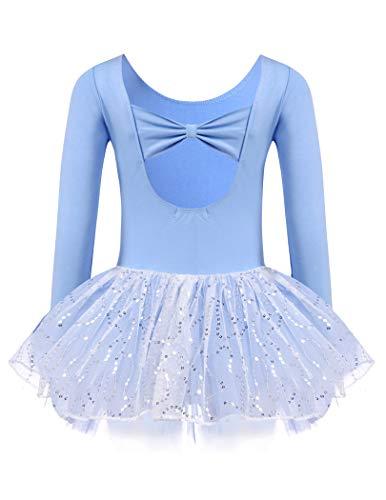 Zaclotre Girls Ballet Long Sleeve Leotards with Tutu Skirt for Dance Blue Size 3-4 Toddler