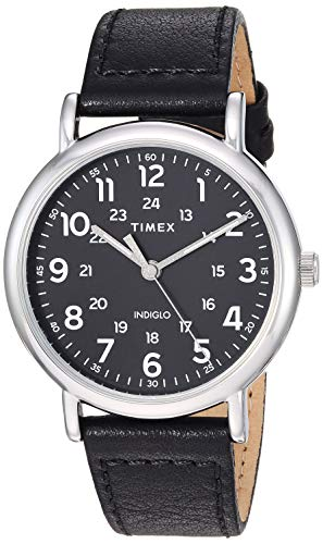 Timex Men's TW2T30700 Weekender 40mm Black/Silver-Tone Two-Piece Leather Strap Watch