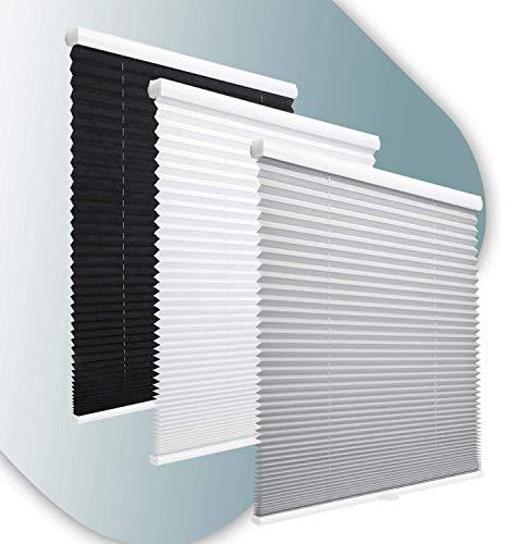 KINLO Estor plisado plegable de Seillos sin agujeros, con soportes de sujeción (90 x 130 cm), opaco, protección solar, para ventanas y puertas