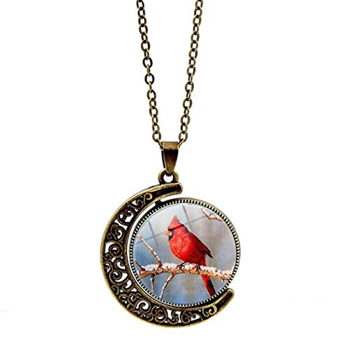 DZX Women Necklace,Time Gemstone,Tree Branch, Cardinal, Bird Double-Sided Rotating European And American Necklace Crystal Pendant Retro Sweater Chain Fashion Gift,Long Necklace