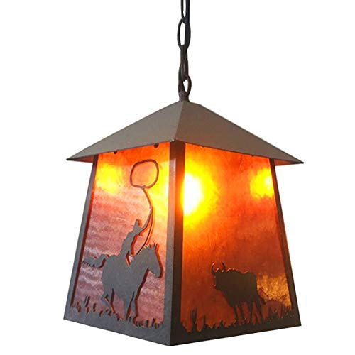 Industrielle Weinlese-Cowboy-Anhänger-Licht Fixture amerikanische landwirtschaftliche Eisen Deckenhängelampe Mica Lampshade E27 Lampenfassung Bar Club Restaurant Droplight Dekor