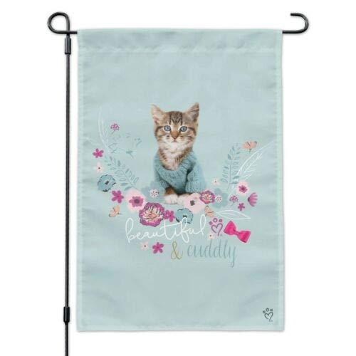 Dom576son Seizoensgebonden Tuinvlag, 12 x 18 Inch Buitenvlag, Tuin Banner, Mooie Knuffelkat Kitten in een Trui Tuinwerf Vlag