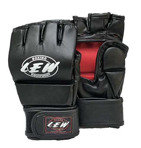 LEW All Black Martial Arts Training & Sparring | Palm-O Maya Hide Leather Grappling Mitts |Good for Kickboxing, Muay Thai, Cage Fighting, Punching Bag MMA Gloves (Black/Red, Small/Medium)
