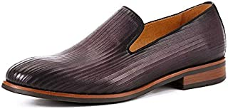 JAROUXIYUJI British Style Men's Loafers Leather Slip on Flat Shoes Handmade Rub Color Business Dress Shoes (Color : Purple, Size : 43 eu)