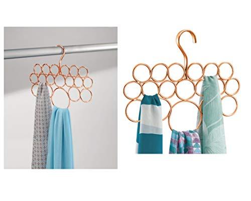iDesign Perchas ahorra espacio, organizador de pañuelos de metal pequeño con 18...
