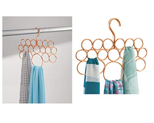 iDesign 24979 Holder with 18 Rings, Copper Scarf Hanger Made of Durable Metal, Practical Wardrobe Organiser for Scarves, Ties and Belts, Single Pack