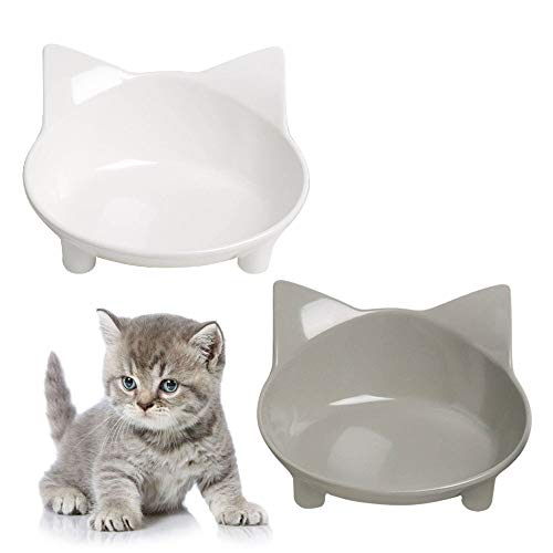 TENGTUNG Cat Bowls Non Slip Cat Food Bowl Cat Dish Feeding Shallow Wide Bowls for Food and Water for Puppy Kitty Cats Small Animals ( Safe Food-Grade Materia )