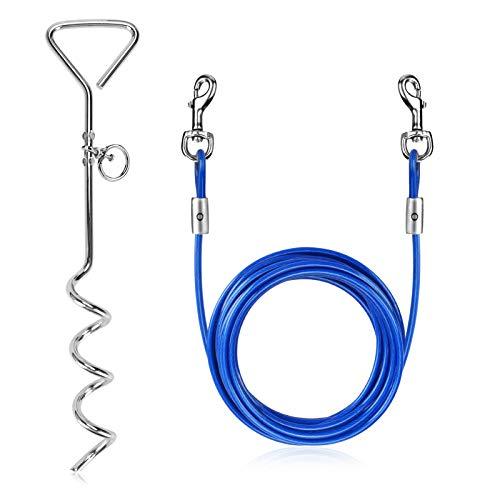 WIOR Hundeleine und Erdspieß, 4,9 m, für Hundeleinen im Hof, korrosionsbeständig, mit robuster Feder und drehbaren Metallhaken, für Hunde bis zu 56,7 kg (blau)