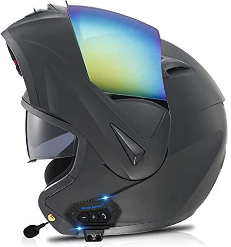Modular Casco Moto Bluetooth Casco de Moto Integral ECE Homologado para Mujer Hombre Adultos con Anti Niebla Doble Visera Casco Integrado con 500mA Auriculares Bluetooth (Color : 10, Size : XL)