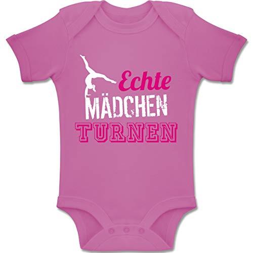 Sport Baby - Echte Mädchen Turnen - 1/3 Monate - Pink - BZ10 - Baby Body Kurzarm für Jungen und Mädchen