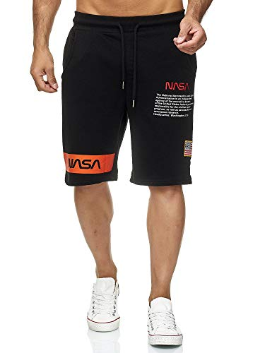 Red Bridge Herren Shorts Kurze Hose Sweat Pants Jogginghose NASA Logo USA M4854 Schwarz M