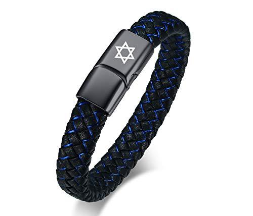 VNOX Herren Edelstahl Handgefertigte Blaue Mikrofaser Geflochtene Leder Davidstern Magnetverschluss Manschette Armband Armreif