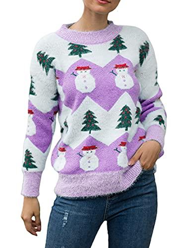 Cárdigan de Navidad para mujer, casual, manga larga, estampado de ciervos, moda suelta, botón de punto, abrigo, Outwear, C-morado., XL
