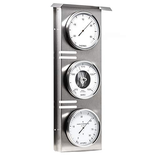 Fischer 823-01 - Außenwetterwarte - Edelstahl-Wetterstation mit Thermometer, Barometer, Haar-Hygrometer Made in Germany