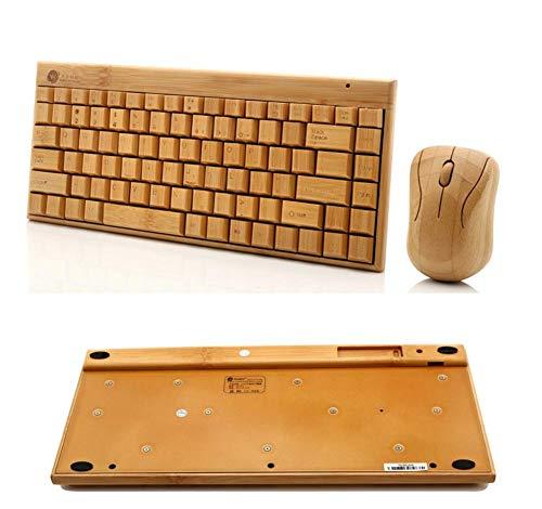 ZGYQGOO Mini-Funk-Tastatur Bambus-Funk-Tastatur und -Maus-Set Hochwertiges Mini-Maustasten-Set in Grün