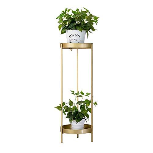 RONG HOME Indoor Pflanzbehälter Rack-Schmiedeeisen Blumentopf-Halter, Balkon Dekoration Blumenständer Double Layer Eckablage,Gold,80CM