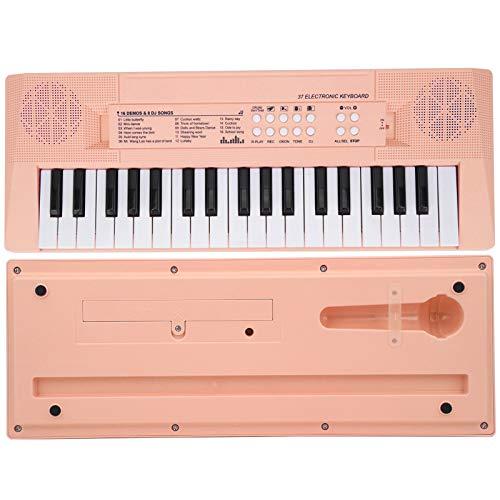 Piano Numérique à 37 Touches, Piano à Clavier électrique Portable, Mini Piano Numérique avec Microphone et Enregistrement, Double Alimentation, Piano électrique Numérique pour les Enfants(rose)