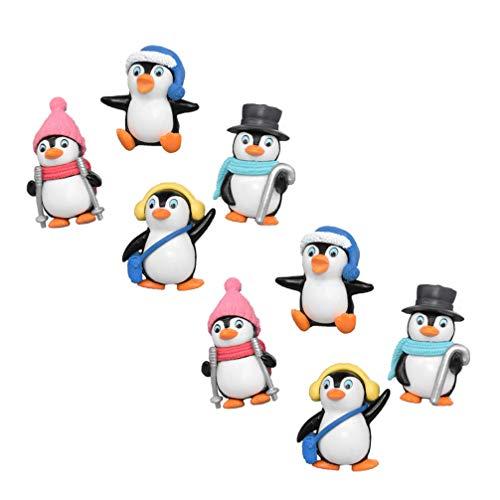 NUOBESTY Mini figura de pingüino de colección de animales, juego de caracteres, juguete de micro paisaje, decoración, llavero, para bonsái, minijardín, 8 piezas