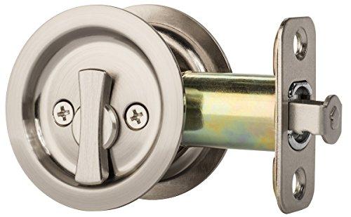 Dynasty Hardware Round Bed/Bath Privacy Pocket Door Latch Satin Nickel
