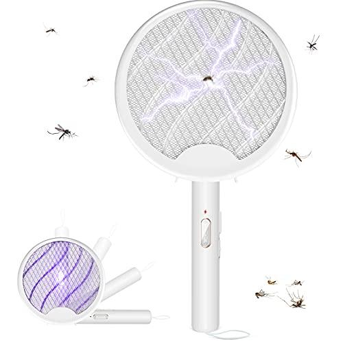 WUTASU Elektrische Fliegenklatsche Fliegenfänger Insektenschläger, 3000V USB Wiederaufladbar 3 in 1 Insektenvernichter, Faltbarer Mückenvernichter für Mücken, Fliegen, Bienen, Motten