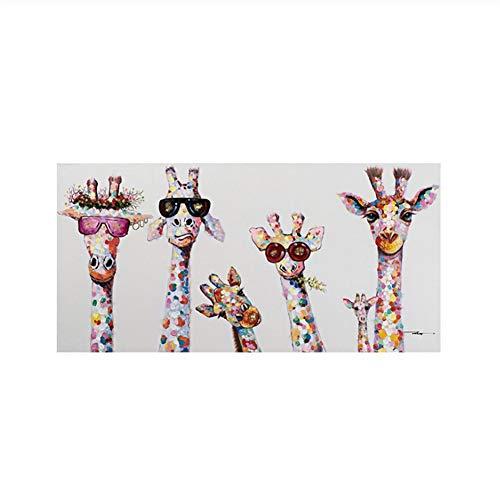 Suuyar Graffiti Art Buntes Öl Tier Giraffe Eine Familie mit Brille Malerei Leinwand Bild Leinwand Drucke Wandkunst Home Decor-60x120cm No Frame
