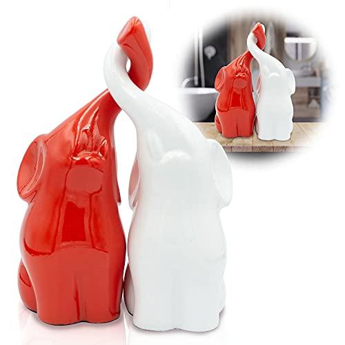 Red and White Elephant Statues with Trunk Up - Poly Stone Elephant Decor Figurines - Russian Suvenir Statuette for Good Luck - Un Par De Elefantes para Decoracion Casa