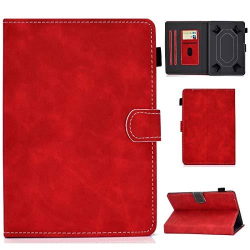 MEMETIAT Funda para tablet PC de 7 pulgadas, universal, con textura de vacuno horizontal, con soporte, ranuras para tarjetas y ranura para bolígrafo, color rojo