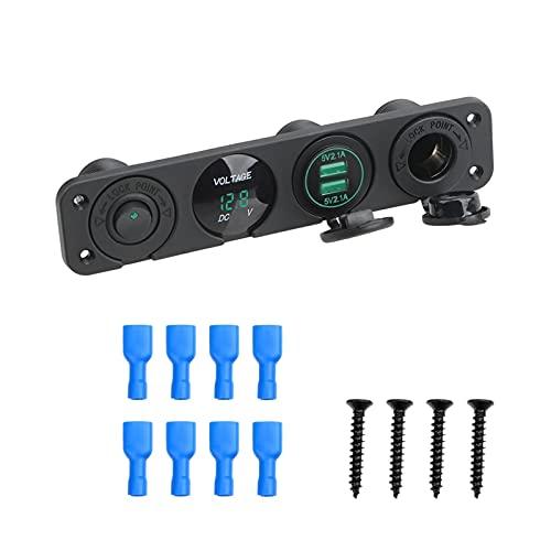 LOVELIN Lovelin17 4 en 1 Coche Cigarette Encendedor con Interruptor de Rocker Voltímetro Digital Dual USB Cargador de alimentación 12V Zócalo de alimentación a Prueba de Polvo (Color : Green)