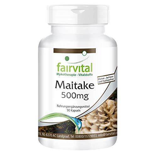 Maitake Kapseln - 500mg Maitake Pilzpulver pro Kapsel - HOCHDOSIERT - Grifola frondosa - VEGAN - 90 Kapseln