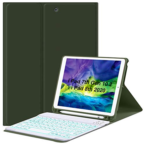 New iPad 10.2' 8th/7th Gen Keyboard Case, Built-in Pen Holder Protective Case with 7 Colors Backlit Magnetic Detachable Wireless Keyboard Folio Cover,Tablet Case for iPad 2020/2019 10.2 Inch-Green