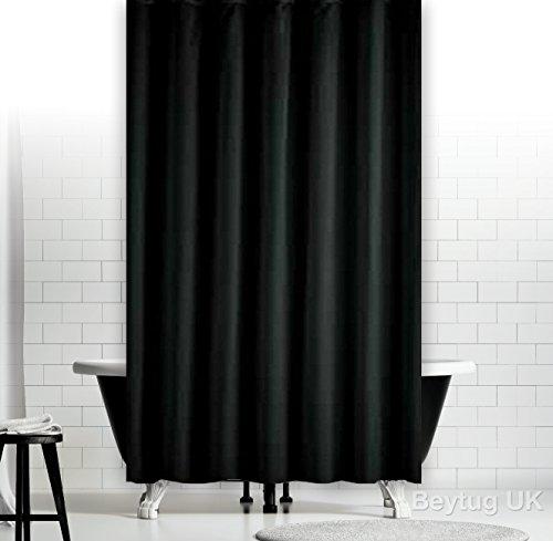 wohnideenshop Duschvorhang Textil 180cm breit x 200cm lang schwarz mit Ringe