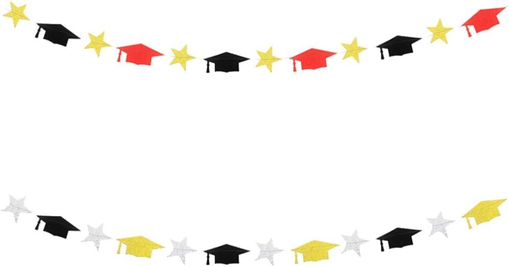 BESTOYARD 2pcs Glitter Paper Hanging The Flags Inexpensive Graduation Lovely Award