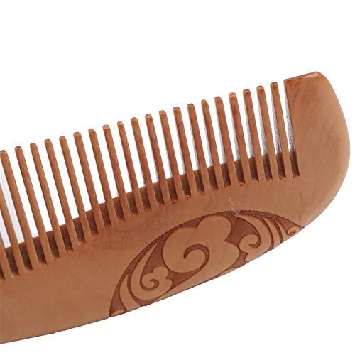 HJGKF Quaste Kleiner doppelseitiger Kamm Wolkenpfirsich Vintage Muster Holz No-Static Massage Haarkamm,Braune Quaste