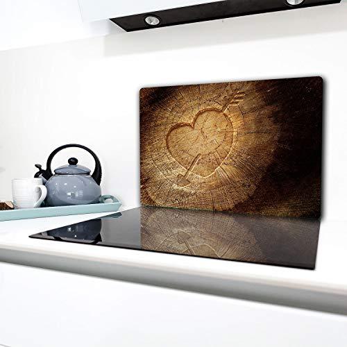 TMK  Herdabdeckplatte 80x52 cm 1-teilig Ceranfeldabdeckung Induktion Herdschutz Spritzschutz Glasplatte Deko Schneidebrett Holz Herz