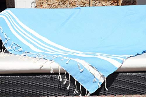 Muy grande fouta XXL Soleil de las Maldivas – 150 x 250 cm – Azul turquesa y rayas blancas – Toalla de playa XXL – 100% algodón suave