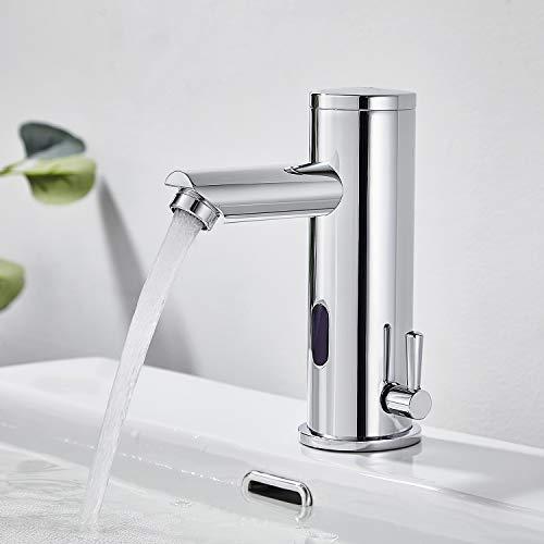 Auralum - Grifo Sensor Automático, Grifo Automático con Sensor Infrarrojo para Agua Caliente y Fría, Mezclador Automático de Lavabo Latón Cromado para Baño