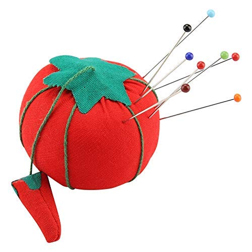 Cojín de aguja, 2 Unids/set Tela de tela Rojo Lindo Forma de bola de tomate Pinza de alfiletero Alfiletero Cojín Accesorio de costura, 5 cm