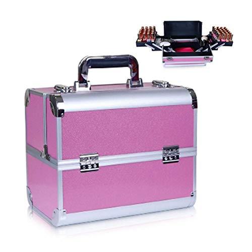 RONGJJ Cajas De Herramientas Portátiles, Caja De Aluminio Makep Box Caja De Cosméticos Profesional con Bandeja De Herramientas Extraíble Y Manijas Pestillos, D